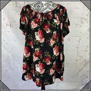 Tops - * Faded Glory Floral Blouse Short Sleeve Blouse *
